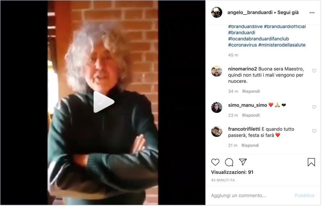 Il messaggio di Branduardi via Instagram