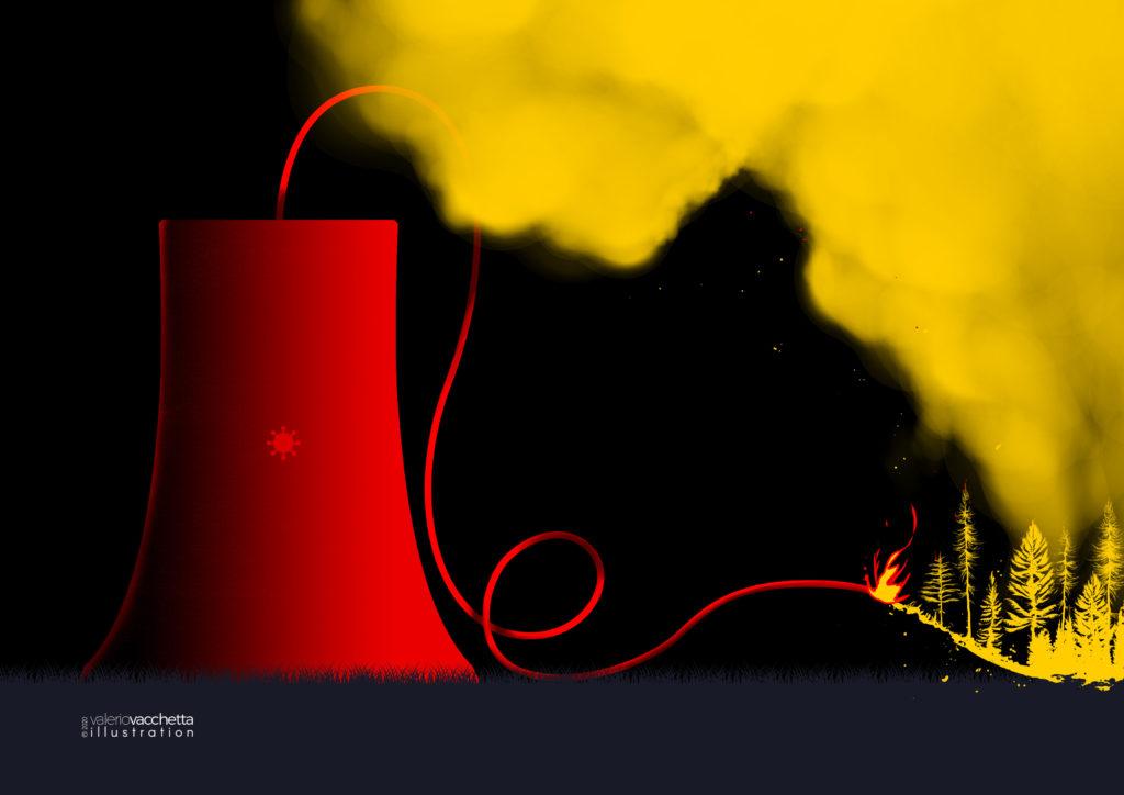 Reazione a catena, illustrazione Valerio Vacchetta