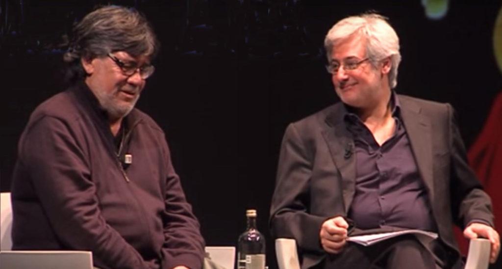 Luis Sepúlveda e Bruno Arpaia si sono incontrati molte volte. Qui sopra, al Dedica festival di Pordenone nel 2015